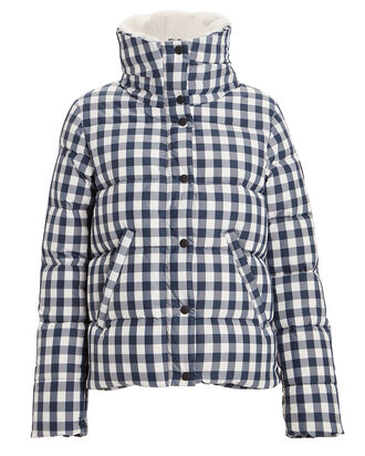 Wyatt Gingham Puffer Jacket, NAVY, hi-res