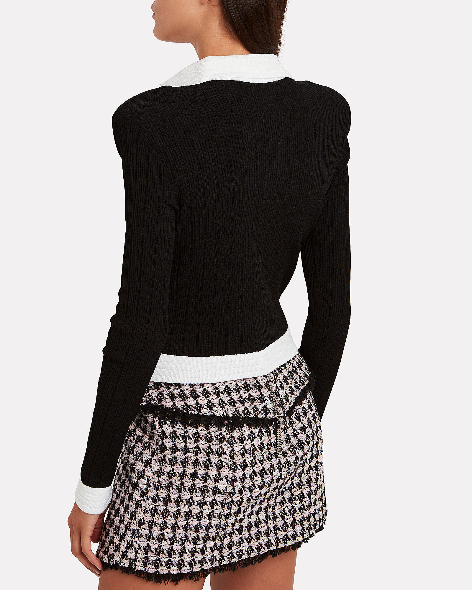 Cropped Rib Knit Cardigan, BLK/WHT, hi-res
