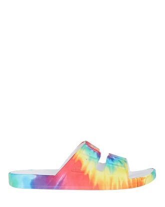 Double Strap Slide Sandals, RAINBOW TIE-DYE, hi-res
