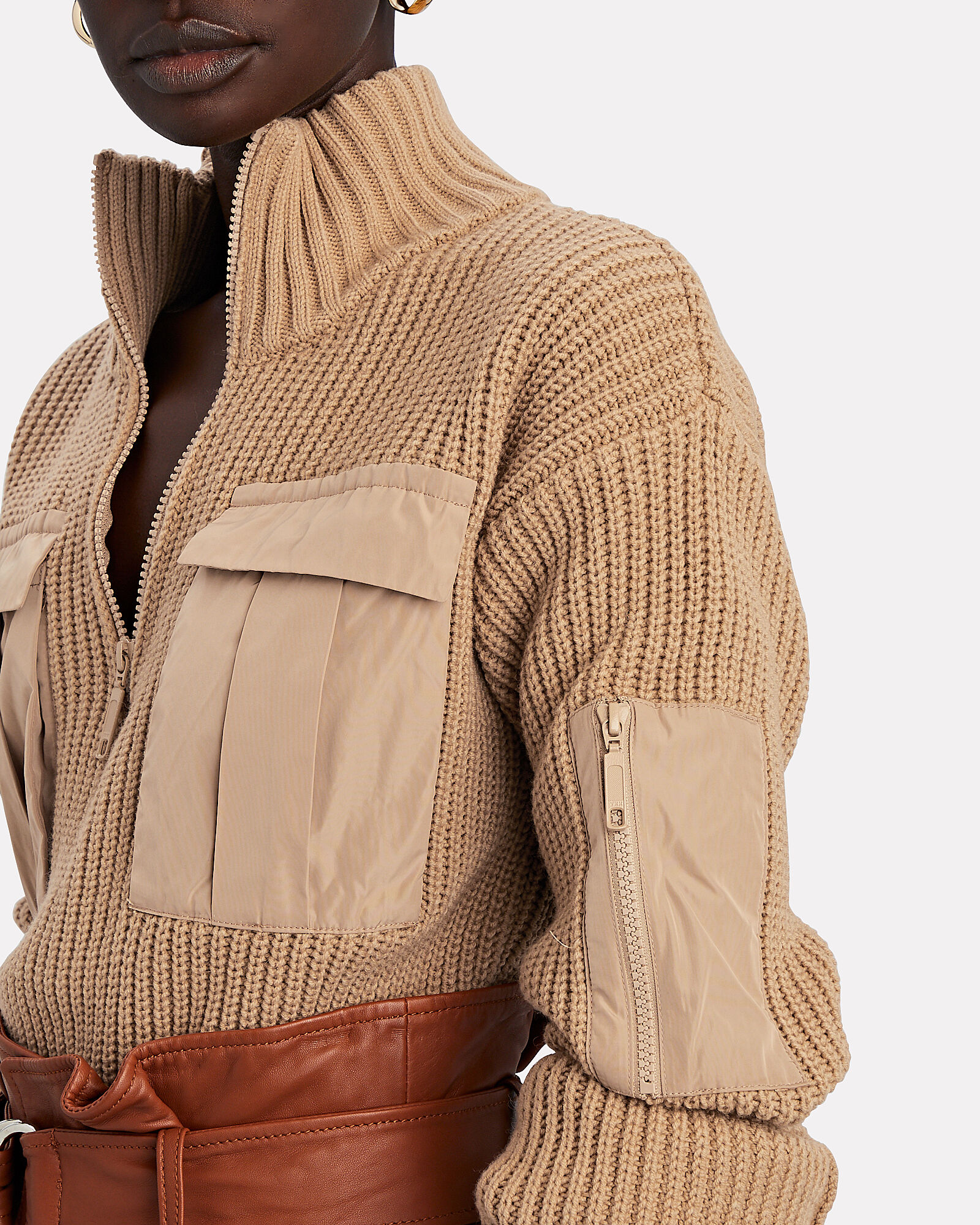 Clyde Half-Zip Cargo Sweater, BEIGE, hi-res