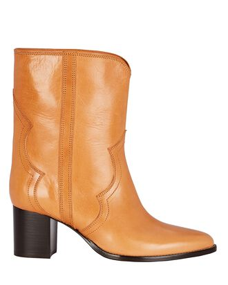 Roree Leather Western Boots, BROWN, hi-res