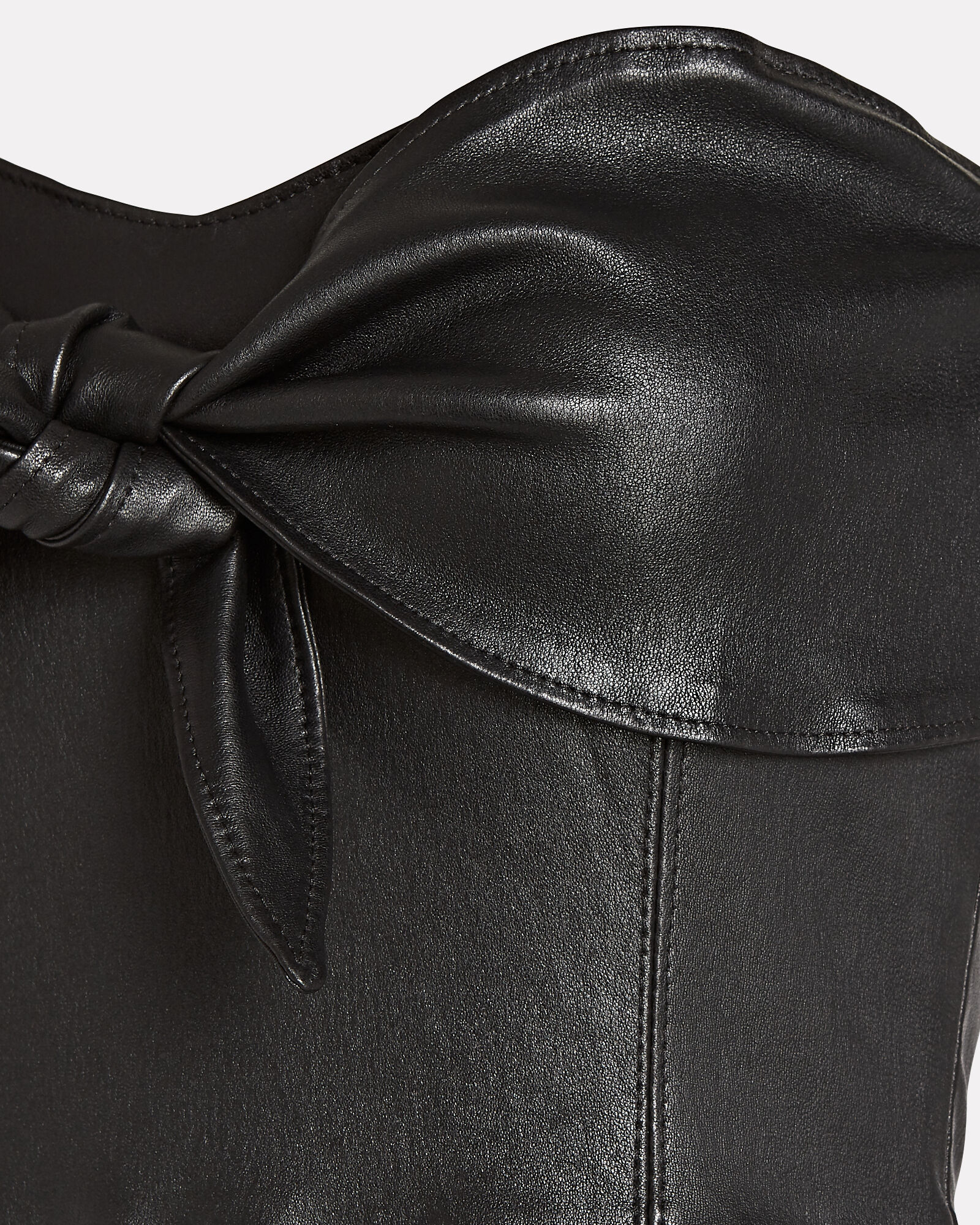 Leather Knotted Strapless Mini Dress, BLACK, hi-res