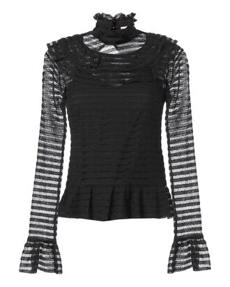 Adele Lace Ruffle Top, BLACK, hi-res