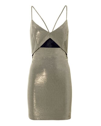Cutout Detail Platinum Mini Dress, SILVER, hi-res