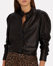 Charlie Leather Button-Down Shirt, BLACK, hi-res