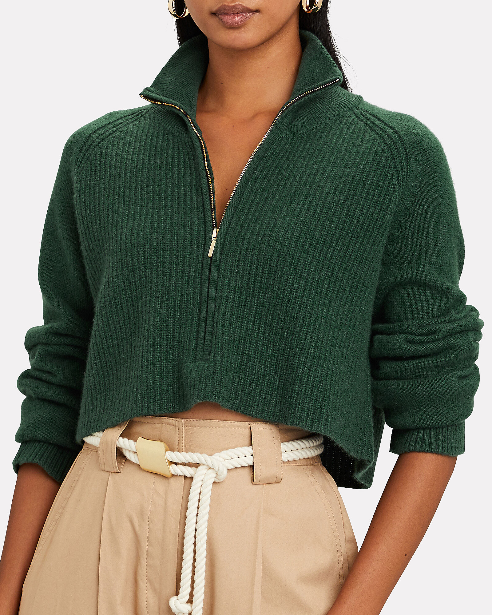 Nash Cropped Cashmere Sweater, GREEN, hi-res
