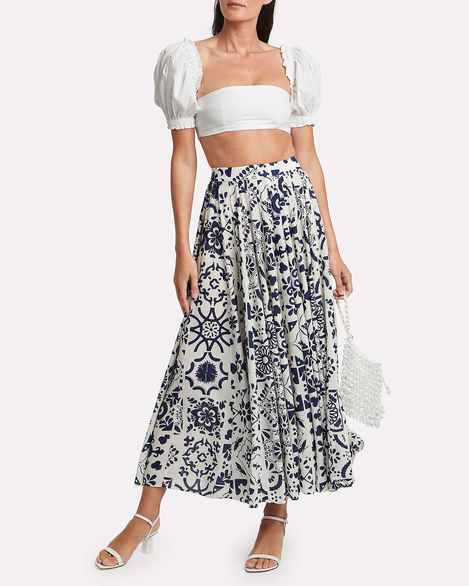 Coco Puff Sleeve Crop Top, WHITE, hi-res