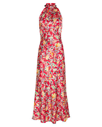 Michelle Floral Satin Halter Dress, MULTI, hi-res