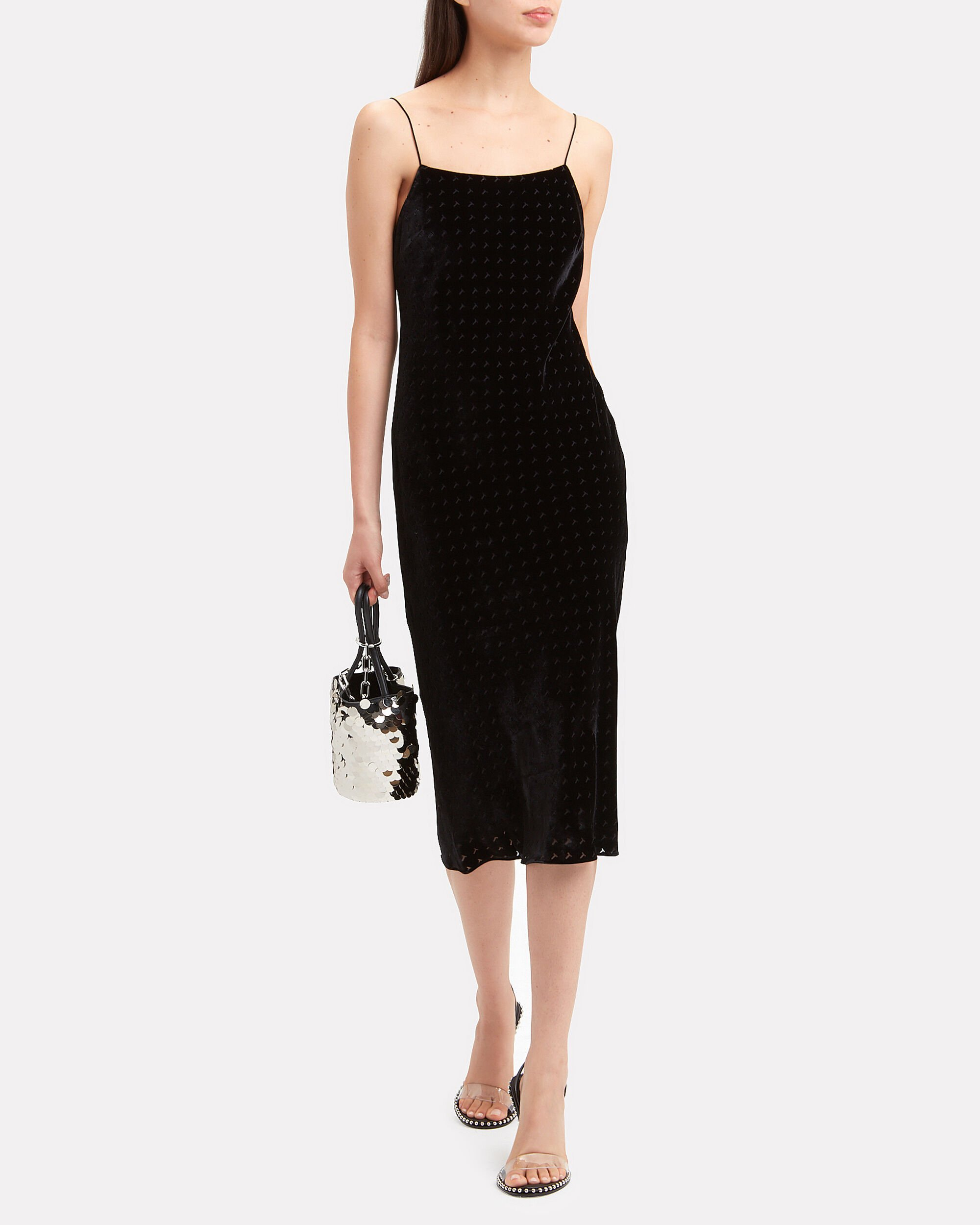 Devore Velvet Midi Dress, BLACK, hi-res