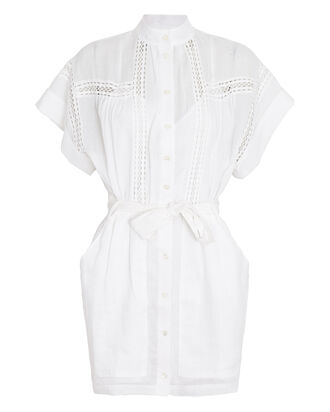 Twisted Pleat Mini Dress, WHITE, hi-res