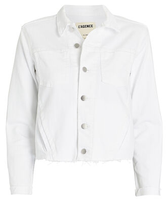 Janelle Cropped Denim Jacket, WHITE, hi-res