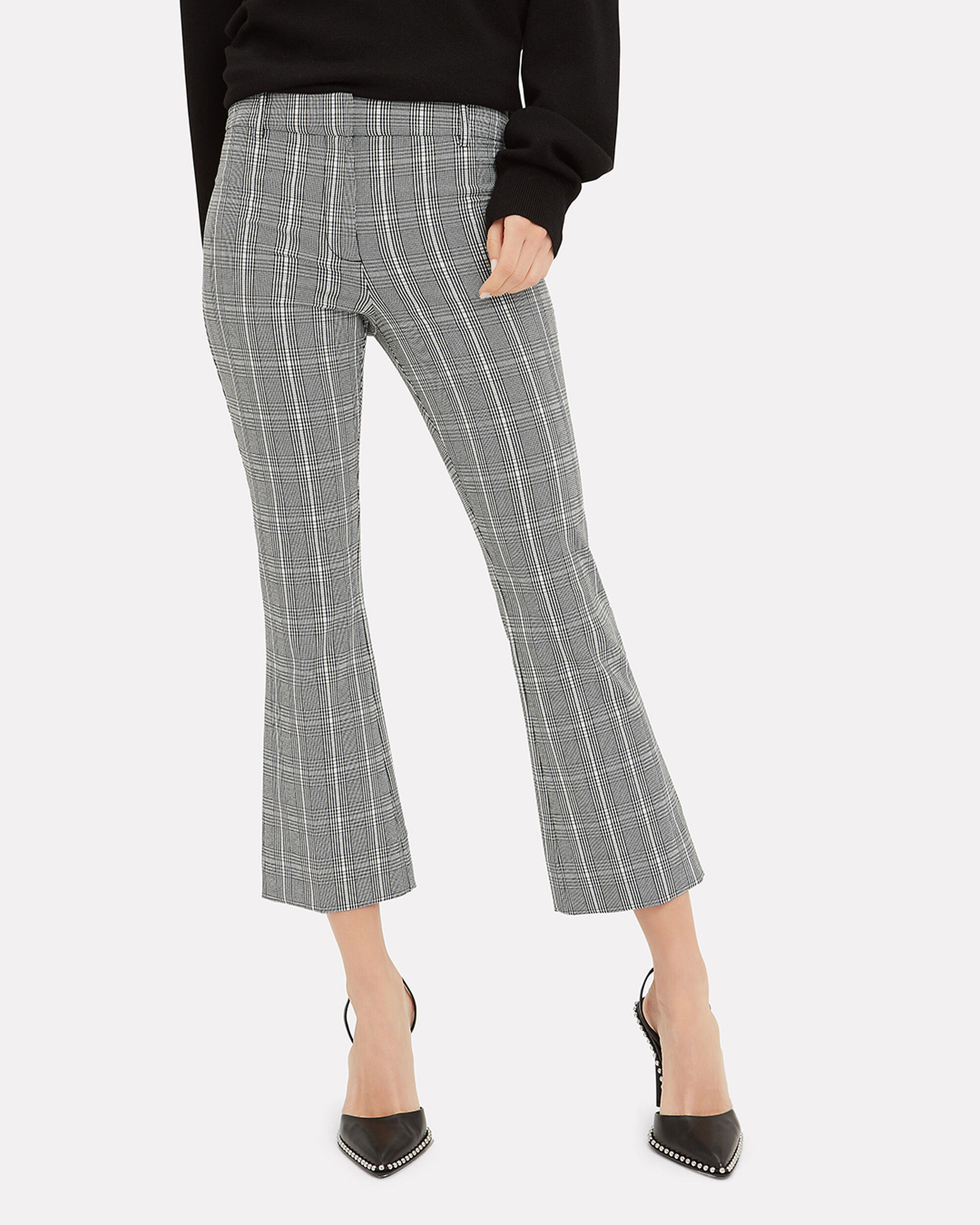 Plaid Cropped Flare Trousers, BLACK/WHITE, hi-res