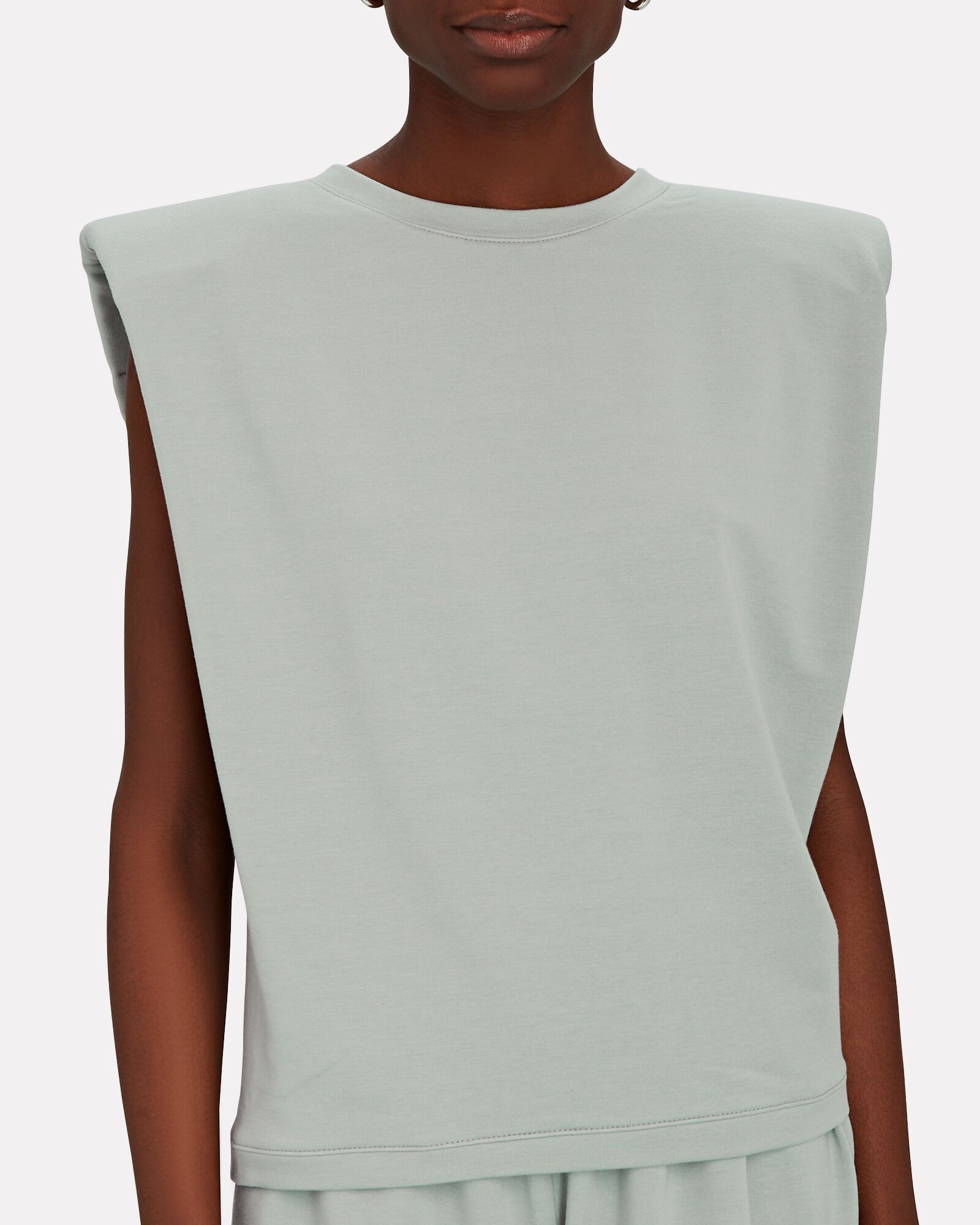 Padded Shoulder French Terry T-Shirt, GREEN-LT, hi-res