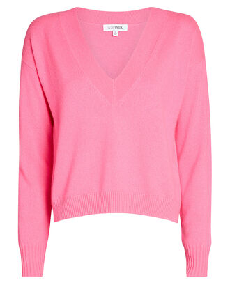 Elroy V-Neck Cashmere Sweater, PINK, hi-res