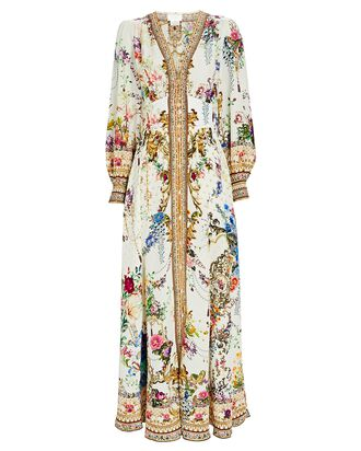 By The Meadow Silk Maxi Dress, WHITE, hi-res