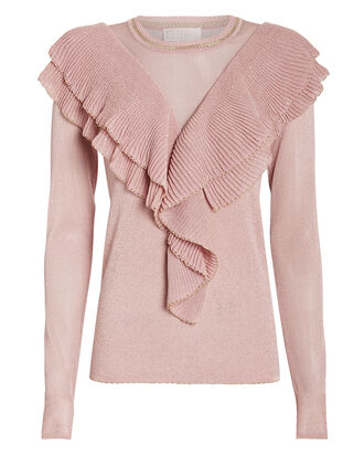 Ruffled Lurex Knit Top, BLUSH, hi-res