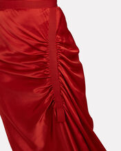 Gathered Silk Charmeuse Skirt, RED, hi-res
