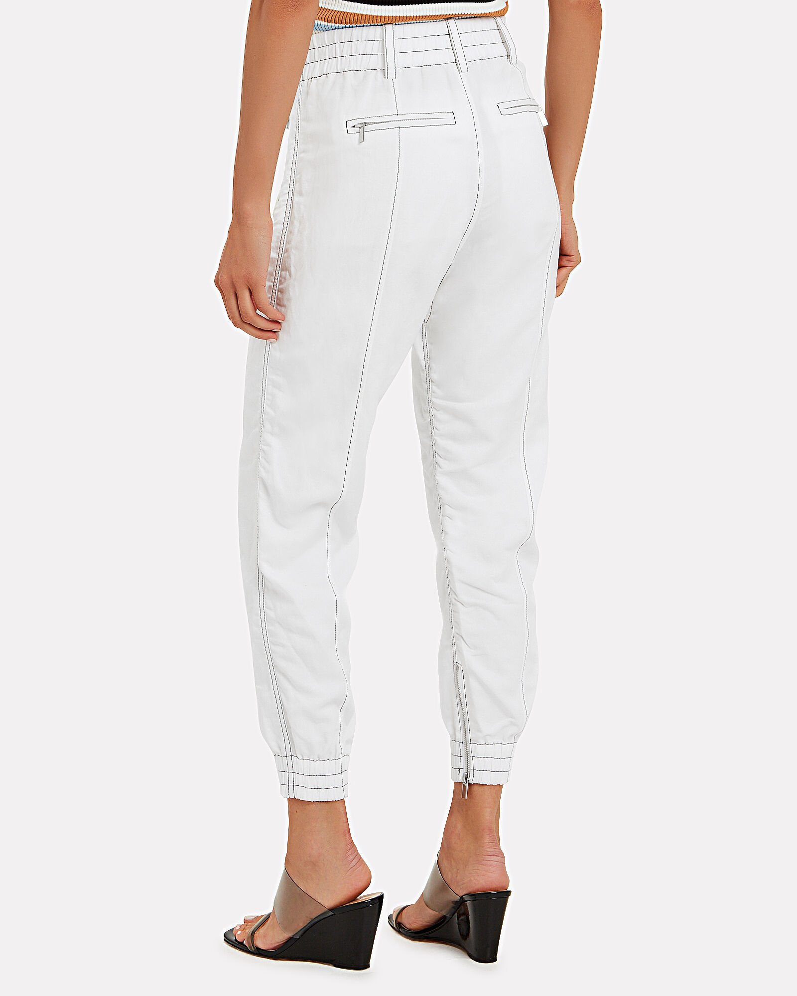 Contrast Stitching Utility Joggers, WHITE, hi-res