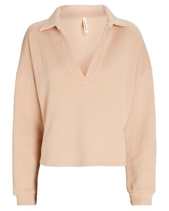 Cotton Terry Polo Sweatshirt, BLUSH, hi-res