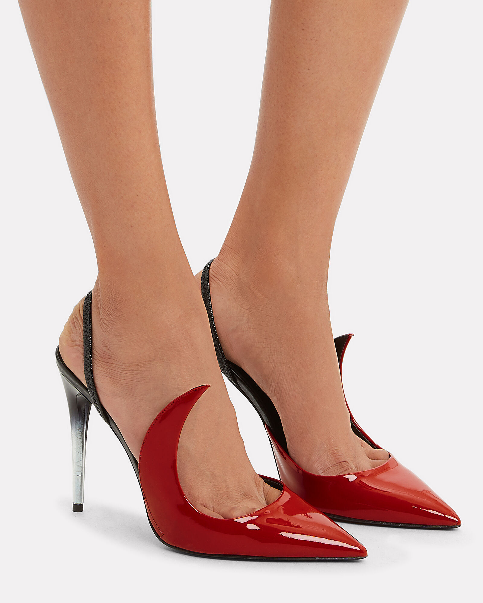Ala Red Patent Leather Slingback Pumps, RED/BLACK, hi-res