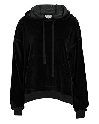 Mateo Hooded Velour Sweatshirt, BLACK, hi-res