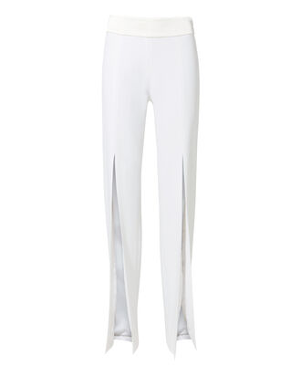 Front Slit White Pants, WHITE, hi-res