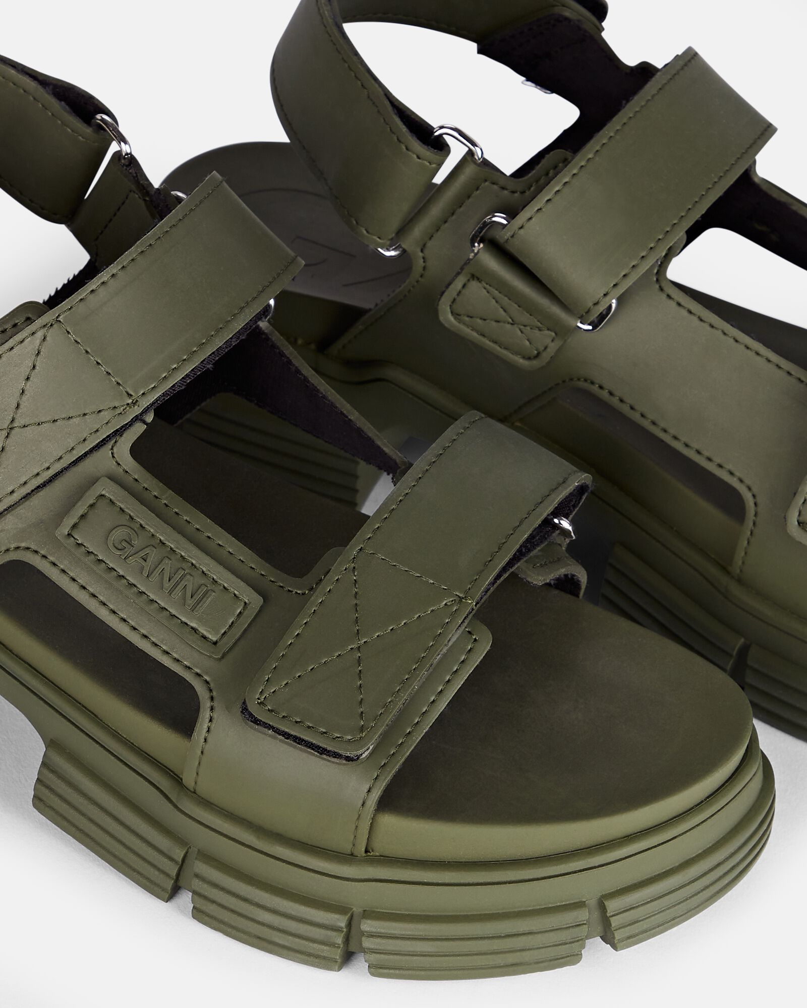 Rubber Velcro Sandals, OLIVE/ARMY, hi-res