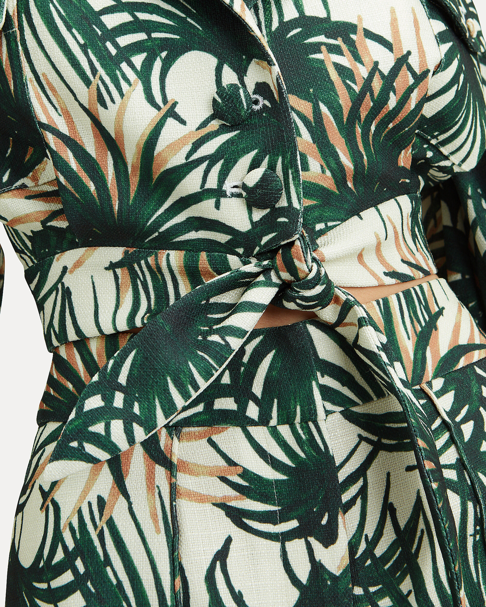 Palm Print Tie Waist Crop Top, PALM PRINT/IVORY, hi-res
