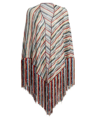 Triangle Fringe Shawl, RAINBOW/STRIPES, hi-res