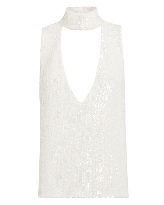 Choker Neck Sequin Top, WHITE, hi-res