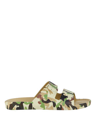 Double Strap Slide Sandals, CAMOUFLAGE, hi-res