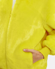 Yellow Faux Fur Zip Up Track Jacket, YELLOW, hi-res