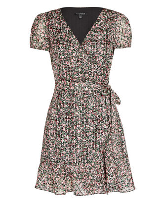 Elle Floral Silk-Cotton Wrap Dress, BLACK/PINK, hi-res