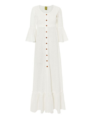 Chemisier Button Front Eyelet Maxi Dress, WHITE, hi-res