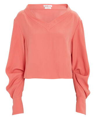 Crepe Balloon Sleeve Top, , hi-res