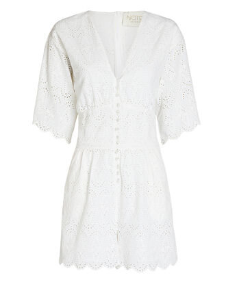 Omia Cotton Eyelet Playsuit, WHITE, hi-res