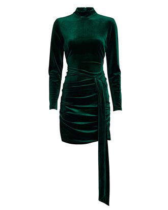 Marlinna Draped Velvet Dress, GREEN, hi-res