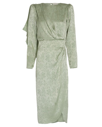Jade Leaf Jacquard Midi Dress, JADE, hi-res