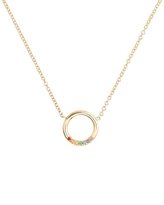 Rainbow Sapphires Thick Circle Necklace, GOLD, hi-res
