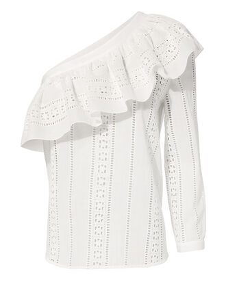 Cruz Eyelet One Shoulder Top, WHITE, hi-res
