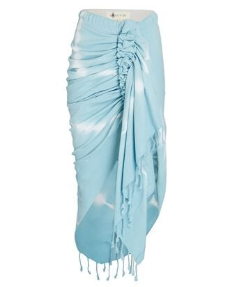 Tulum Ruched High-Low Skirt, LIGHT BLUE, hi-res