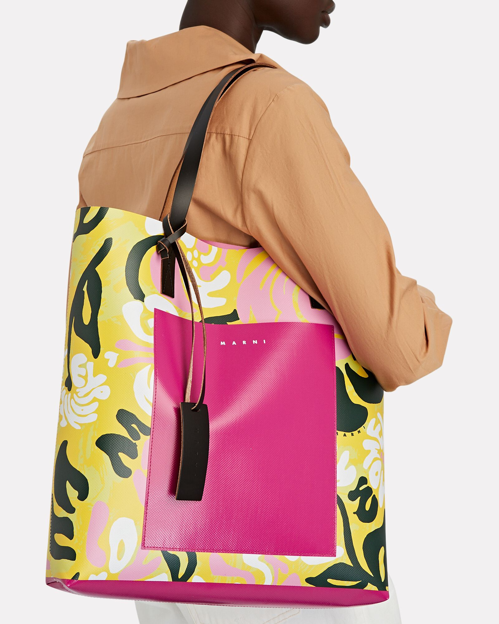Floral Shopping Tote Bag, YELLOW/PINK, hi-res