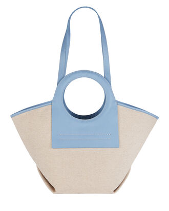 Cala Small Leather-Trimmed Canvas Tote, BEIGE, hi-res