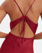 Satin Slip Dress, DARK RED, hi-res