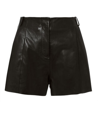 Black Leather Shorts, BLACK, hi-res