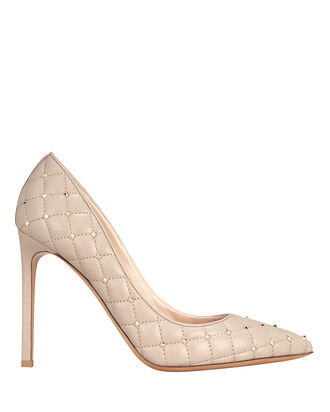 Quilted Rockstud Leather Pumps, BEIGE, hi-res