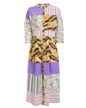 Riva Patchwork Dress, LILAC/WHITE/ORANGE/BLACK, hi-res