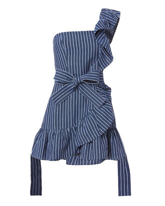 Konner One Shoulder Striped Denim Dress, STRIPE, hi-res
