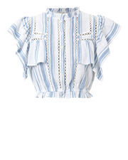 Nora Ruffle Top, WHITE/BLUE, hi-res