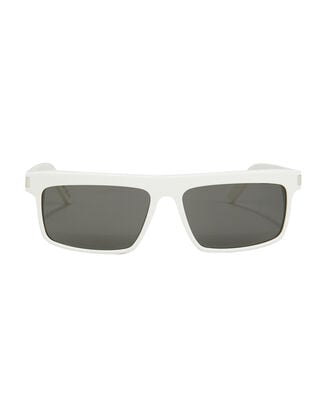 Narrow Rectangle White Sunglasses, WHITE, hi-res